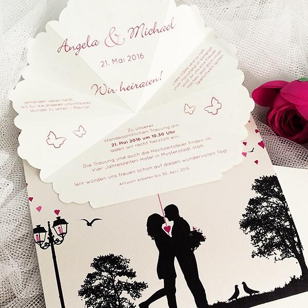 """Hochzeitseinladung """"Stella"""" mit auffaltbarem Schirm - weddix.de"""