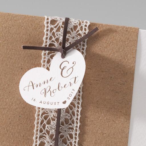 Einladungskarte susan kraftpapier trifft spitze for Hochzeitseinladungen vintage mit spitze
