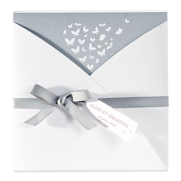 einladungskarte mit schmetterlingen nach oben aufklappbar - weddix.de, Einladung
