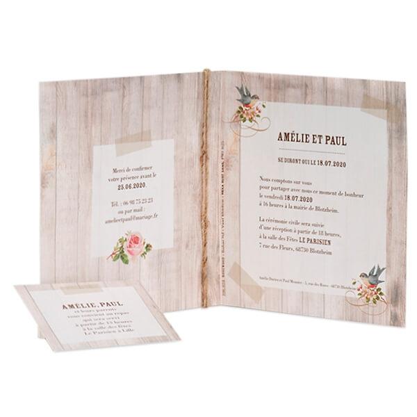 Einladungskarte in rustikaler Holzoptik und Einlegekarte - weddix.de