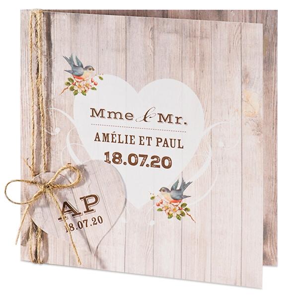 Einladungskarte In Rustikaler Holzoptik Und Einlegekarte Weddix De