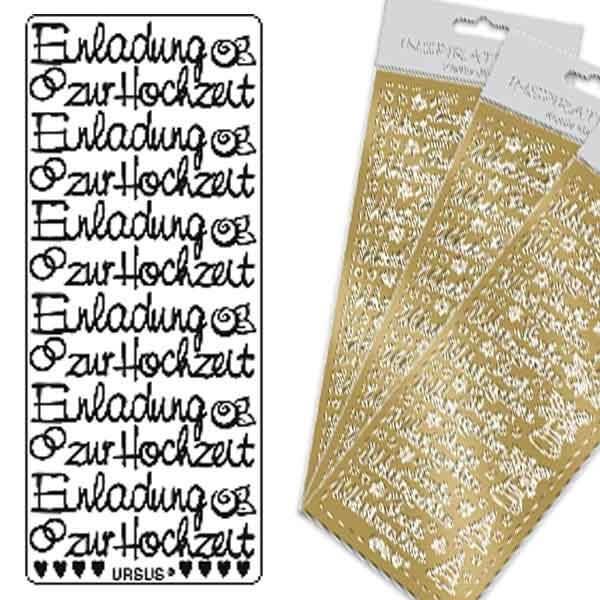 Sticker Einladung Hochzeit Gold