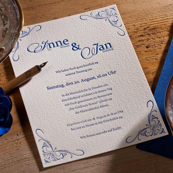 """Letterpress Hochzeitseinladung """"Elizabeth"""" mit Ornamenten ..."""