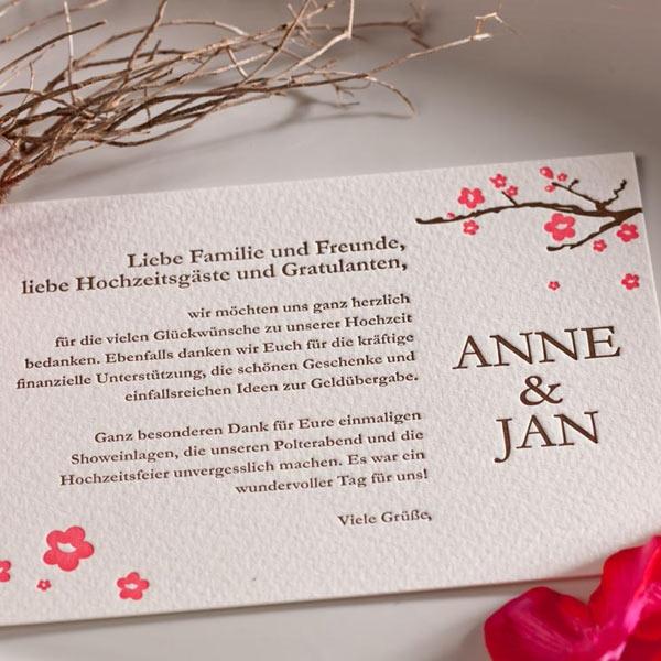 """Letterpress Karte """"Blütenzauber"""" für Hochzeitsgäste ..."""
