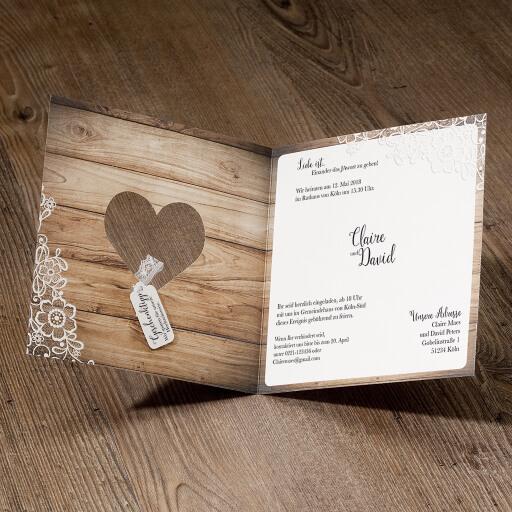 Hochzeitseinladung Lisa Vintage In Holzoptik Mit Spitze Weddix De