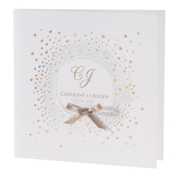 Hochzeitskarte Mit Herzen In Gold Und Silber Weddix De