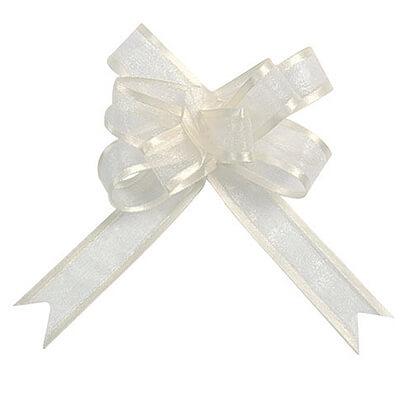 Hochzeitsdeko organzaschleife mini 5 stk creme f r Hochzeitsdeko creme