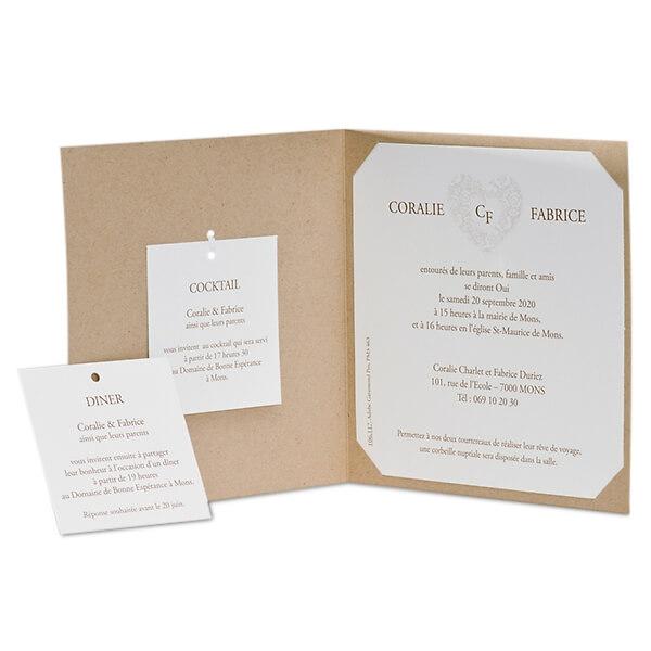 Einladungskarte Aus Kraftpapier Mit Einlegekarten Weddix De