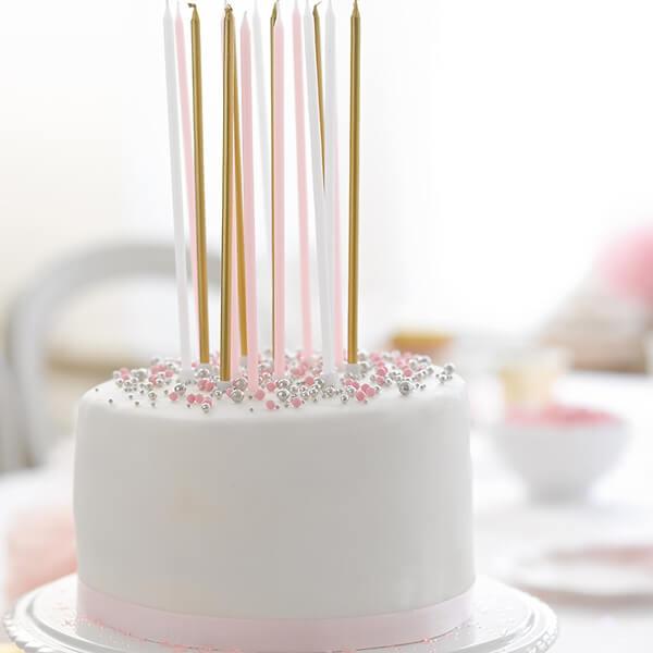 Kerzen In Gold Rosa Und Weiss Perfekt Fur Ihre Hochzeitstorte