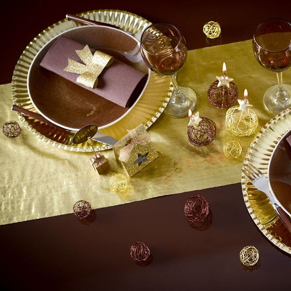 tischl ufer organza gold 5m eleganter tischl ufer in gold. Black Bedroom Furniture Sets. Home Design Ideas