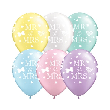 Luftballon-Set Mr & Mrs, cm, pastell