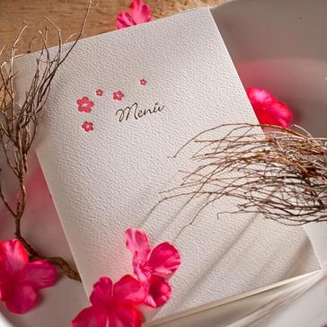 Menükarte Blütenzauber mit Letterpress