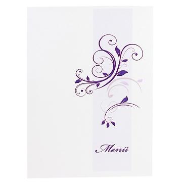 Elegante Menükarte mit lila Schnörkeln