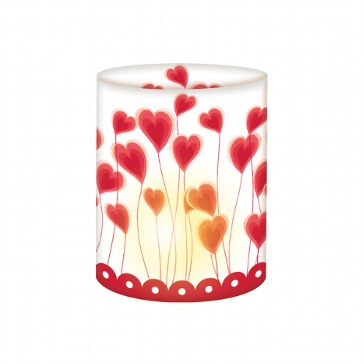 Mini-Tischlichter Herzblumen, 5 St. - Tischlicht in Rot, Weiß