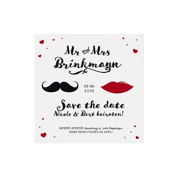 Save the Date oder Dankeskarte Mr & Mrs mit Moustache