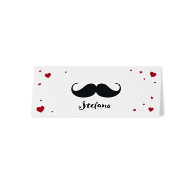 Tischkarten Mr & Mrs mit Moustache
