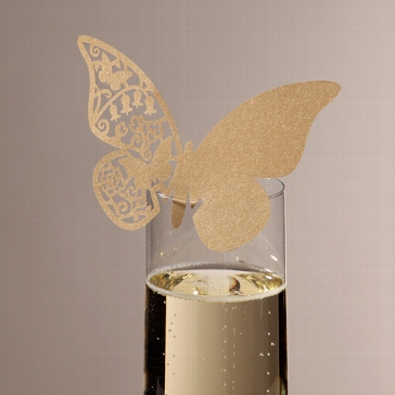 "Namenskarte ""Schmetterling in Gold"""