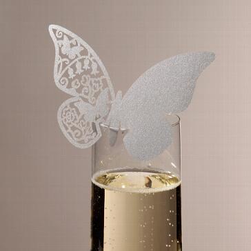 Namenskarte Schmetterlin in Silber