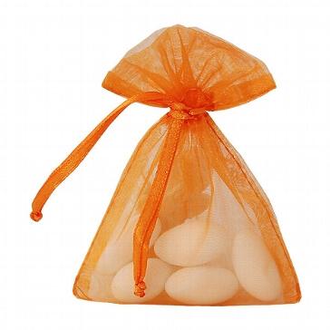 Verpackung für Hochzeitsmandeln - Säckchcen in Orange