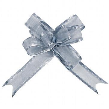 Hochzeitsdeko Organzaschleife Maxi in Silber