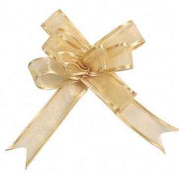 Organzaschleife Mini gold für Tischdeko