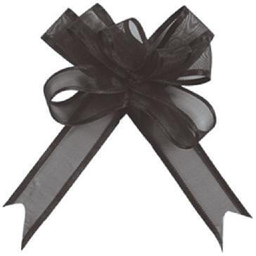 Organzaschleife Mini, schwarz, 5 St.
