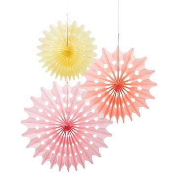 Papierdeko Fächer, 3 St., rosa/apricot/gelb - Papierfächer in verschiedenen Farben