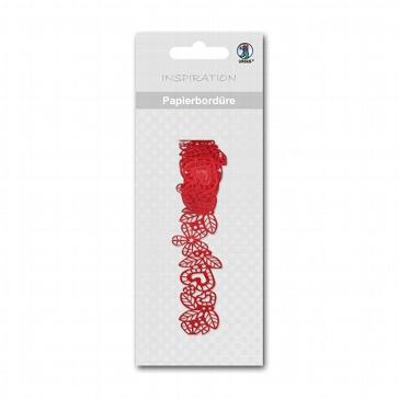 Papier-Bordüre Flora, rot, selbstklebend - rote Papierbordüre
