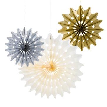 """Papierdeko """"Fächer"""", 3 St., silber/gold/creme-schöne Papierfächer in drei verschiedenen Farben"""
