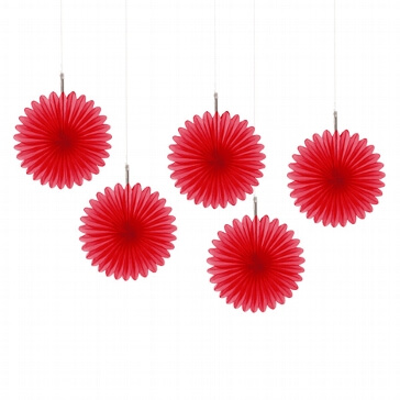 Papierdeko Fächer, rot
