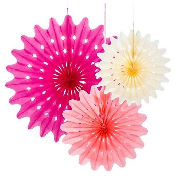 Papierdeko Fächer, 3 St., pink/rosa/creme - papierfächer in verschiedenen Farben