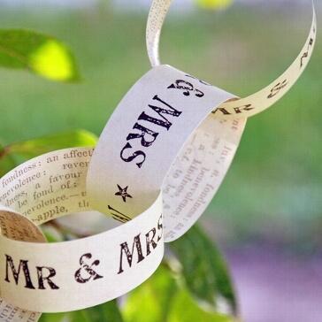 Papier-Kette Mr & Mrs Newsprint - kreative Hochzeitsdekoration