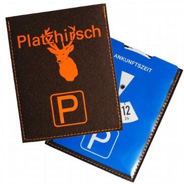 """Parkscheibe mit Filzhülle """"Platzhirsch"""""""
