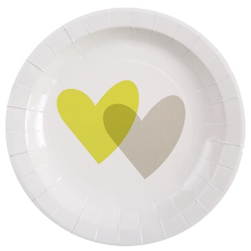 "Partyteller ""Love Love"", grün, 10 St. - Partyteller mit grünen Herzen"