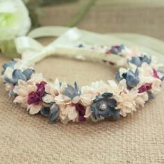 Brautschmuck Haarreif Stoffblüten, taubenblau-rosé