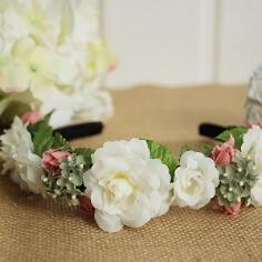 Braut Haarreif mit Rosen, weiß-rosa