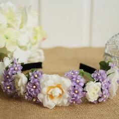 Braut Haarreif mit Rosen, weiß-flieder