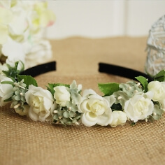 Braut Haarreif mit Rosen, weiß-grün