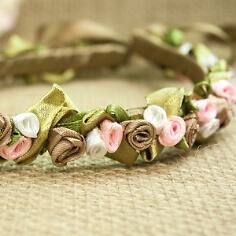 Haarreif mit Seidenblumen, taupe-rosa