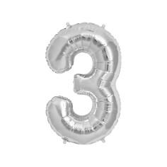 """Folienballon Zahl """"3"""", silber"""