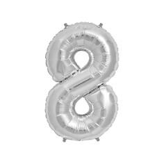 """Folienballon Zahl """"8"""", silber"""