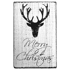 vintage stempel merry christmas elch