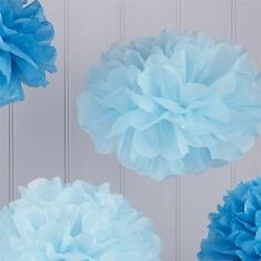 """PomPoms """"Fluffy"""" in verschiedenen Blautönen"""