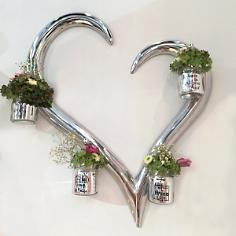 Wanddekoset Herz mit Vasen, 5tlg.