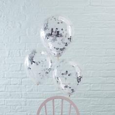 Ballons mit Konfetti, silber, 5 St.