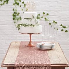 Tischläufer aus Pailletten, roségold