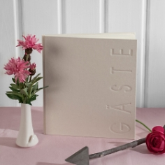 Gästebuch Hochzeit, weiß, creme, Leinen, hochwertig