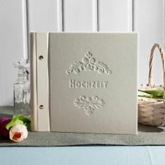 Hochzeitsalbum Vintage Dekor, klein, creme, erweiterbar, Leinen