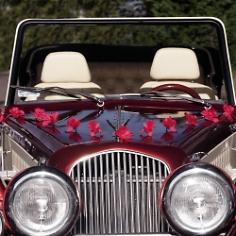 Autodeko Hochzeit Blumen Girlande Rot