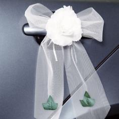 Autoschleife Tüll mit Rose weiß